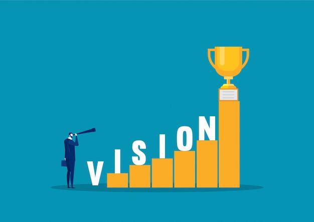 成功への階段の上のビジョンの単語を探しているビジネスマン