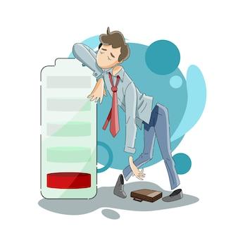 Businessman low on energy concept