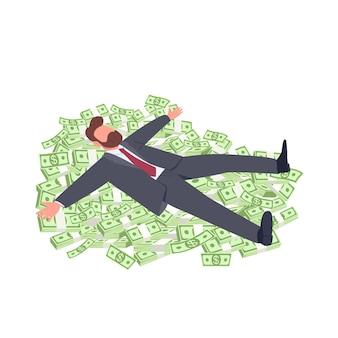 Businessman lying on money flat concept illustration