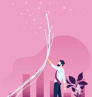Businessman make  income grow concept