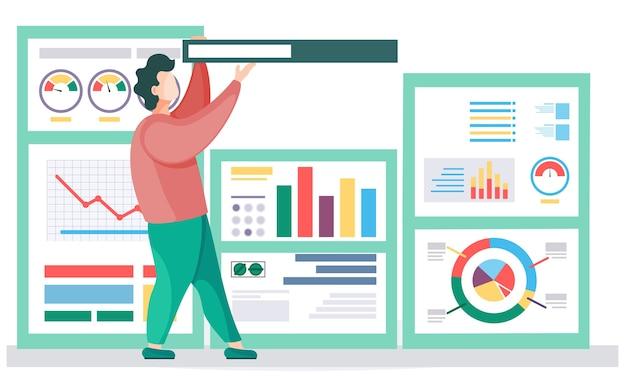 Бизнесмен делает презентацию возле отчета с графиками и диаграммами. спикер ведет семинар, объясняет статистику. офисный работник мужчина держит книгу над головой, делает отчет на конференции или семинаре