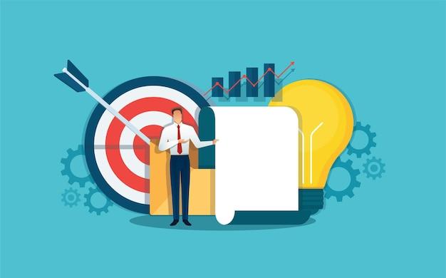 Бизнесмен делает презентацию, бизнес-аналитик