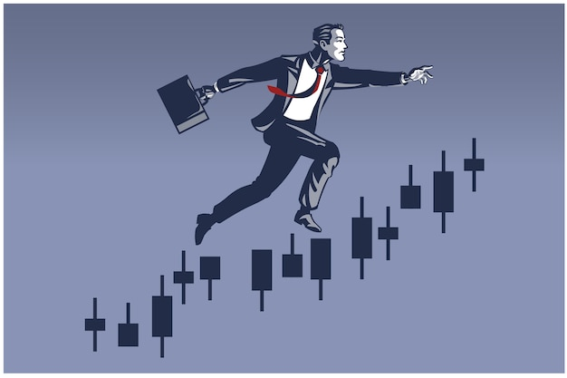 Businessman making big leap on trading chart bar. business illustration concept of finance career promotion