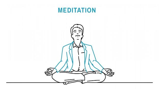 瞑想をするビジネスマン