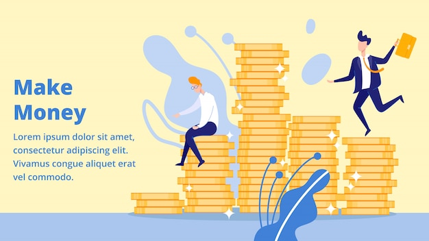 Businessman making money sitting on coins pile landing page