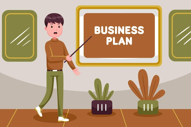 Businessman making presentation about business plan of company
