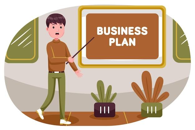 회사의 사업 계획에 대한 프레젠테이션을 만드는 사업가.