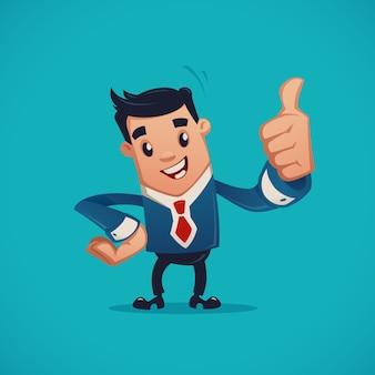 Businessman making thumb up gesture