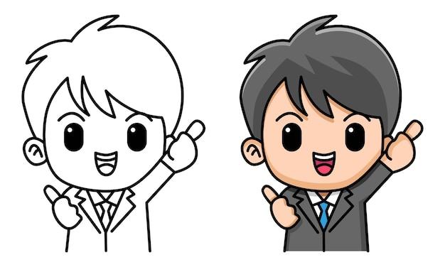 子供のための親指を立てるサイン着色ページを作るビジネスマン