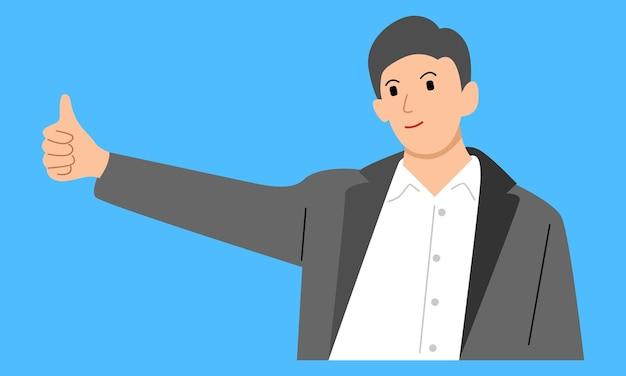 親指を立てるビジネスマンは良い仕事に署名します