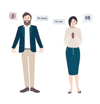ビジネスマンの男性と女性には、破産したお金がありません。空のポケットのコンセプト。フラットスタイルの文字。