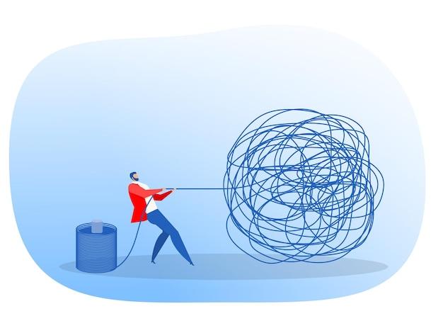 사업가는 생각 개념 벡터로 뇌의 문제 솔루션 창의적인 디자인과 순서를 관리합니다.