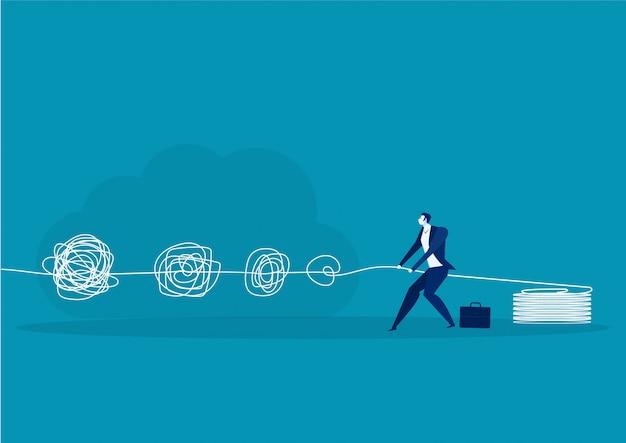 Бизнесмен управляет решением проблем креативный дизайн мозга и порядок в мысли концепции