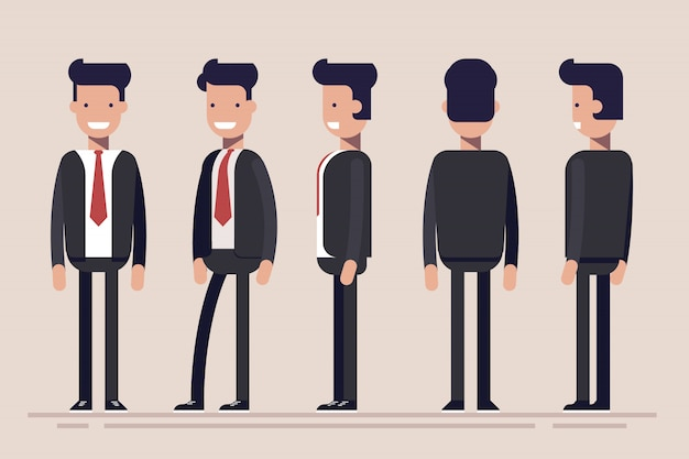 Businessman or manager from different sides. front, rear, side view of male person. flat illustration in cartoon style.
