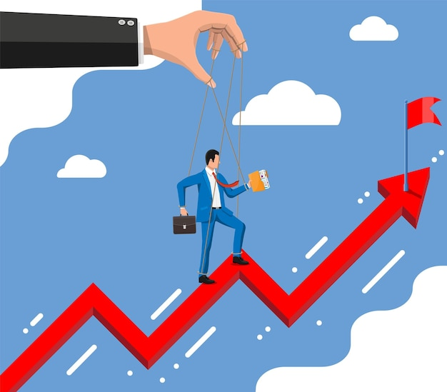 Businessman marionette is hanging on ropes moving to target on chart ladder. hand of puppeteer holding business man on leash. puppet doll worker, abuse of power, manipulation. flat vector illustration