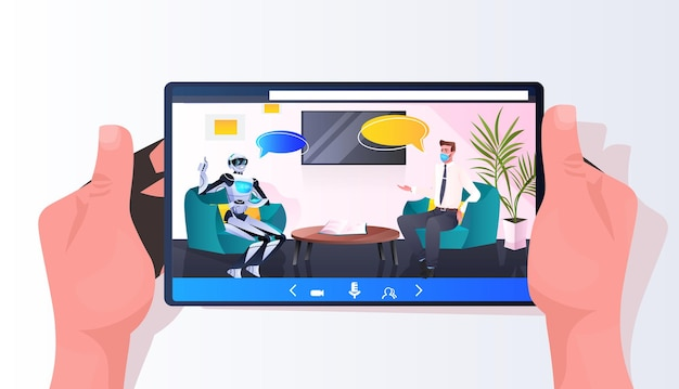 Businessman in mask discussing with robot during meeting partnership chat bubble communication artificial intelligence technology concept full length horizontal vector illustration