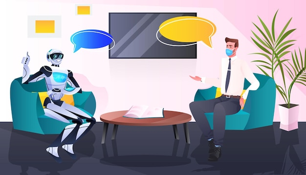 Businessman in mask and robot discussing during meeting partnership chat bubble communication artificial intelligence technology concept full length horizontal