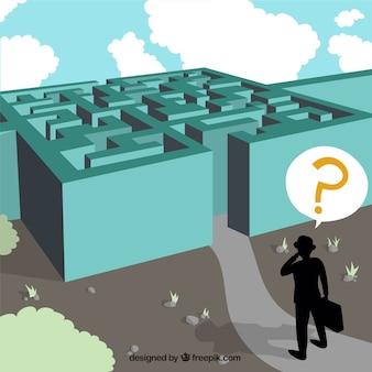 Businessman and maze illustration Premium Vector