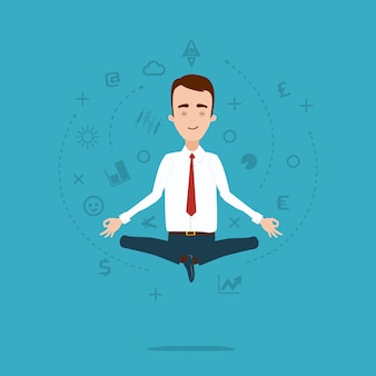 Businessman meditates in lotus pose. cloud of thoughts and ideas