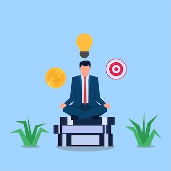 電球のお金とターゲットが飛び回っている間、本の上で瞑想するビジネスマン