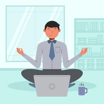 Businessman meditating flat illustration