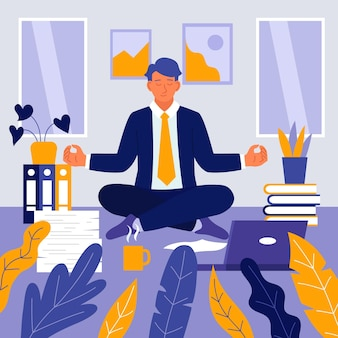 Businessman meditating illustrated