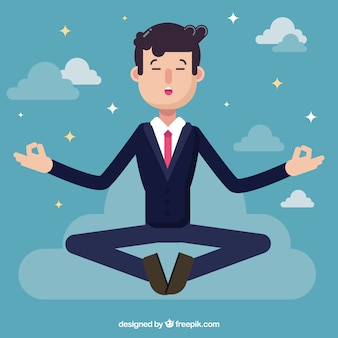 Businessman meditating in flat design