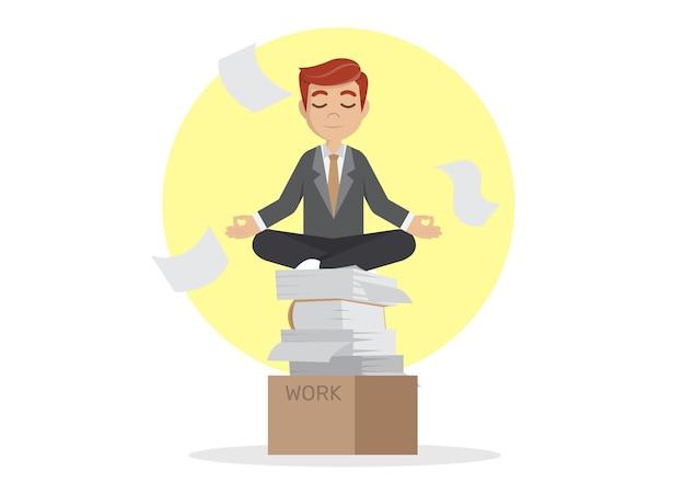 Businessman meditating in peace.