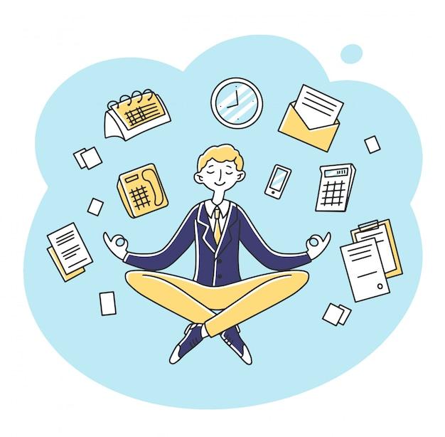 Businessman meditating at workplace illustration