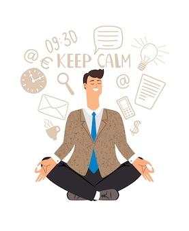 Businessman meditation  card illustration