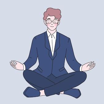 Businessman meditation character illustration