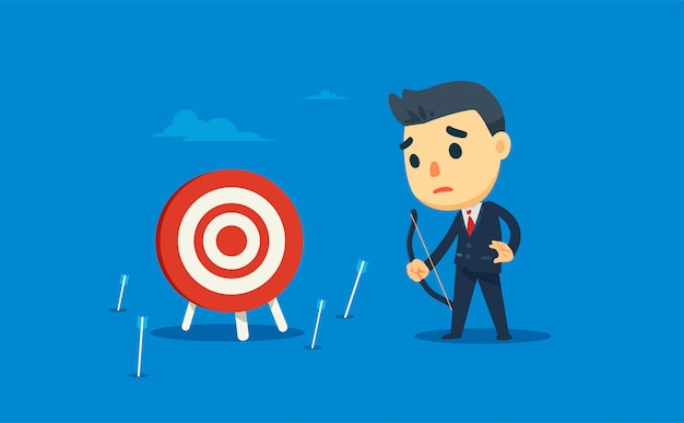 A businessman missed the target. vector illustration