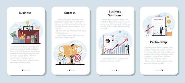 사업 모바일 응용 프로그램 배너 세트입니다. 팀워크의 전략과 성취에 대한 아이디어.