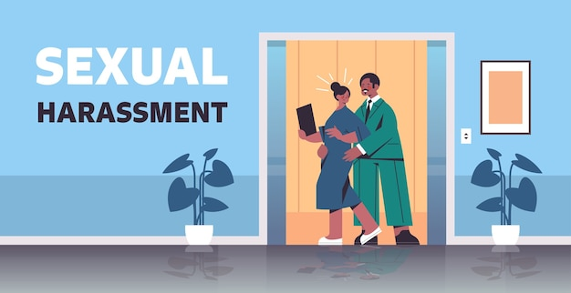 Businessman molesting female employee sexual harassment at work businesswoman feeling disgusted office corridor interior horizontal full length vector illustration