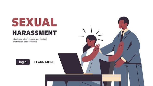 Businessman molesting female employee sexual harassment at work concept lustful boss touching secretary's shoulders portrait horizontal banner copy space vector illustration