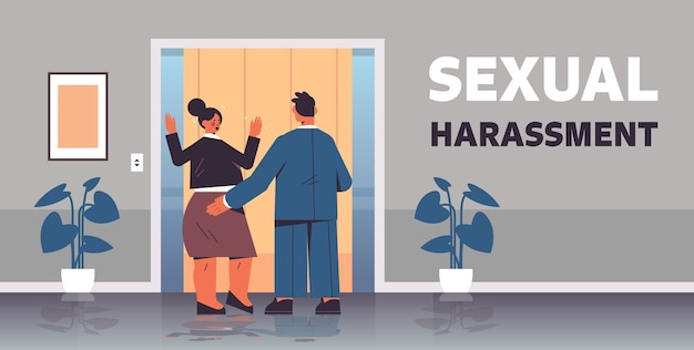 Businessman molesting female employee sexual harassment at work concept lustful boss touching woman's butt office corridor interior horizontal full length vector illustration