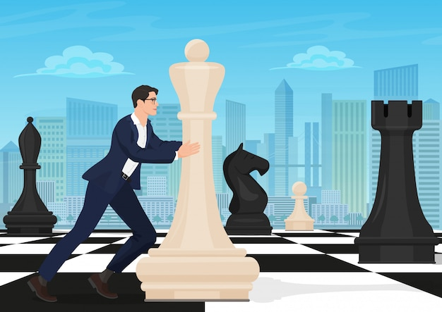 Businessman moving chess figure