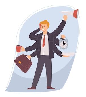 직장에서 멀티태스킹을 하는 사업가, 시간을 관리하는 공식적인 옷을 입은 남자. 남성은 전화 통화를 하고 커피를 마시고 동시에 작업을 제공합니다. 워커홀릭 인물. 평면 스타일의 벡터