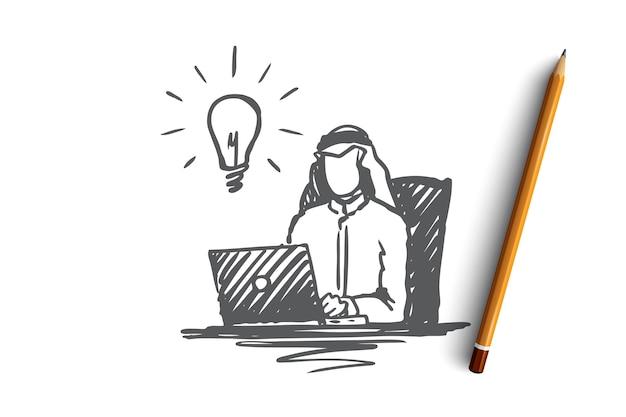 사업가, 이슬람교도, 아랍, 이슬람교, 아이디어, 브레인 스토밍 개념. 손으로 그린 된 이슬람 사업가 노트북 개념 스케치 작업.