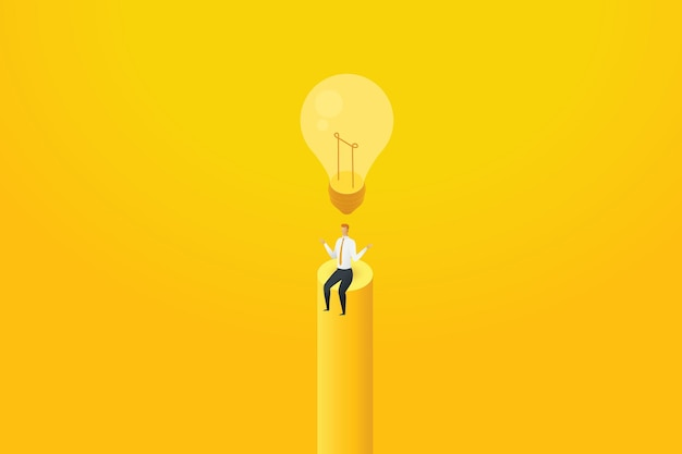 ビジネスマンは、電球がオフになっていて創造的な解決策を考えていない下に座っているとは考えていません