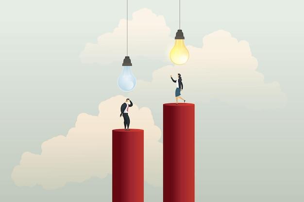 Бизнесмен понятия не имеет при выключенной лампочке