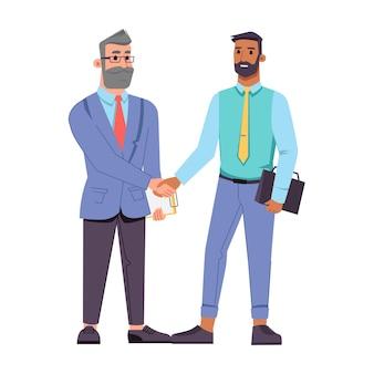 握手するさまざまな年齢のビジネスマンは、フラットな漫画のキャラクターのベクトルひげを生やした真ん中を分離しました