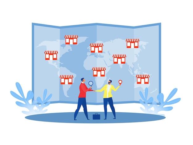프랜차이즈를 제공하는 사업가, 세계지도 비즈니스 개념 평면 그림에 거래 네트워크 상점