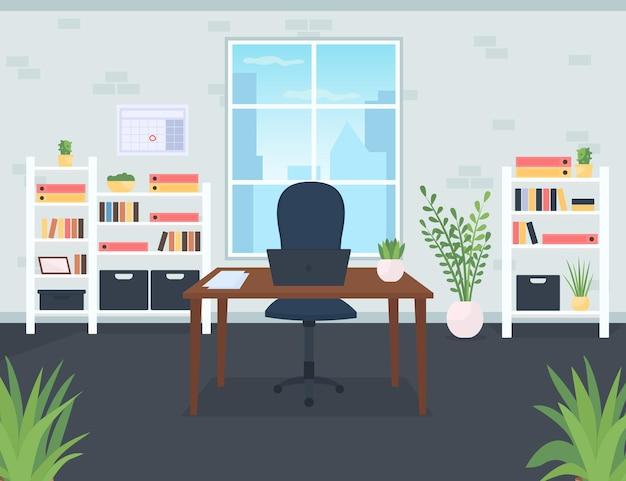 ビジネスマンオフィスフラットカラーベクトルイラスト。ノートパソコン付きのデスク。会社のceoの議長。従業員のための現代的な職場。背景に窓のあるコワーキングスペース漫画のインテリア