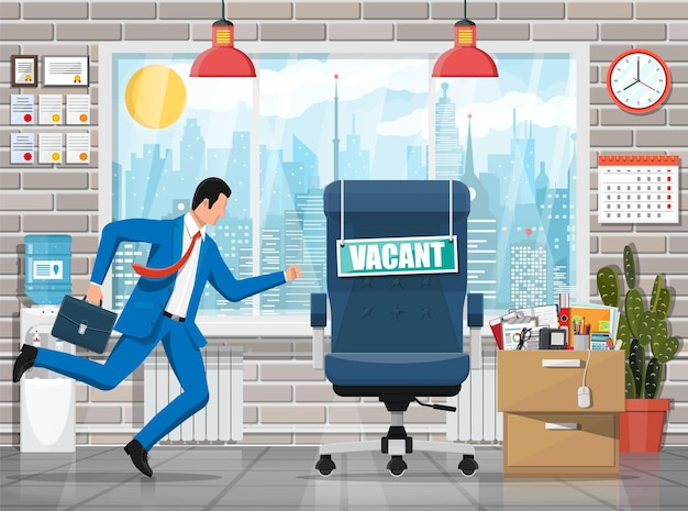 Businessman, office interior, chair with sign vacancy, locker full of office itmes Premium Vector
