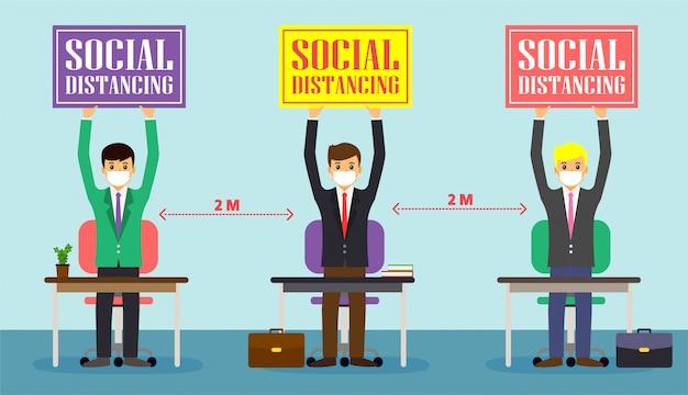 ビジネスマンオフィスの人々は社会的距離を維持します。仕事で新しい正常。