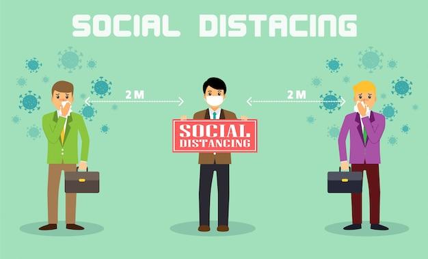 ビジネスマンオフィスの人々は社会的距離を維持します。仕事で働いている新しい正常。