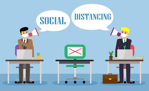 Businessman office people maintain social distancing. new normal at job working. covid-19
