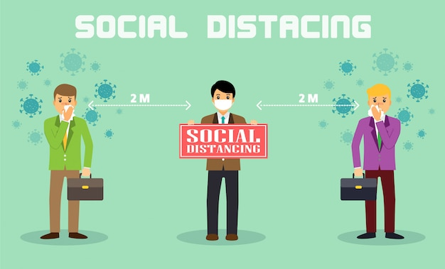 Businessman office people maintain social distancing. new normal at job working.