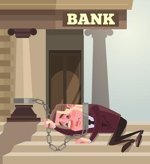 銀行にチェーンされたビジネスマンのサラリーマンのキャラクター。大きな信用。フラット漫画イラスト